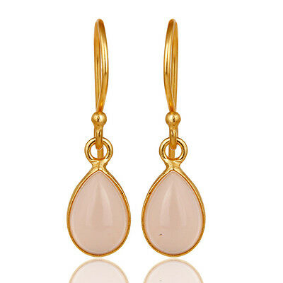 18K Gold Plated Rose Chalcedony Brass Designer Drop Earrings Fashion Jewelry