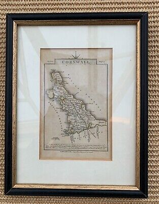 Cornwall Genuine Antique Hand Coloured Framed County Map By John Cary 1814