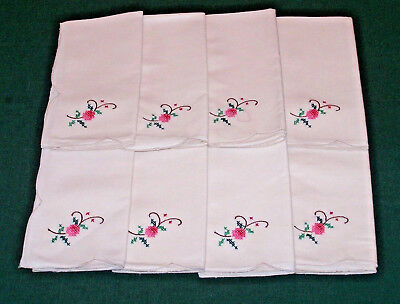 8 FLORAL HAND EMBROIDERED NAPKINS, NEVER USED, EXCELLENT CONDITION, c1950