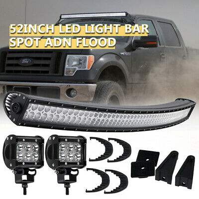 52inch 700W LED Light Bar Curved Flood Spot Combo Truck Roof Driving 4WD Offroad