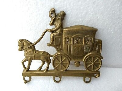 Vintage Brass Wagon Horse Wall Hanger Home Decor Collectible