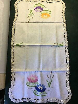 Vintage HandMade & Embroidered Linen & Lace Cream Rectangular Doily 69cm x 36cm
