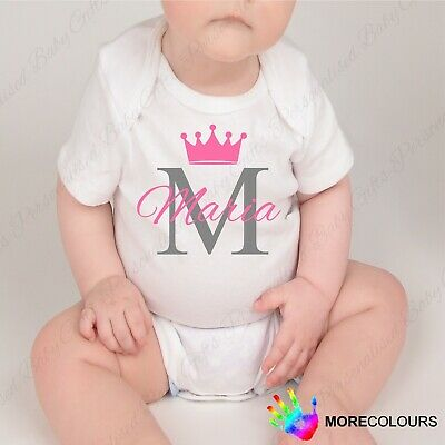 Personalised Baby Grow Vest Shower Gift Girl Boy Name White Sleepsuit Crown