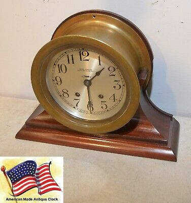 Seth Thomas Restored Antique Ships Bell Strike Model 66 Clock With Stand