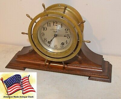 Seth Thomas Restored Antique Ships Wheel Strike Model 44 Clock With Stand