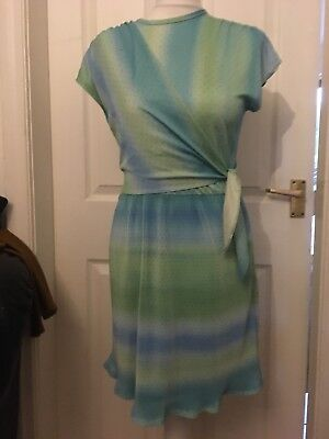 """True Vintage Pm 2 By Rose Green & Blue Spotty Wrap Sash Dress 36"""" Bust Pleated"""