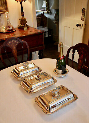 A Harlequin Group of Edwardian Silver Plate Metamorphic Tureens, Shabby but Chic