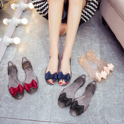 Womens Summer Beach Flat Sandals Open Toe Jelly Ladies Bowknot Slip On Shoes UK