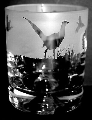 PHEASANT FRIEZE 30cl Whisky / Water Glass Tumbler - BOXED