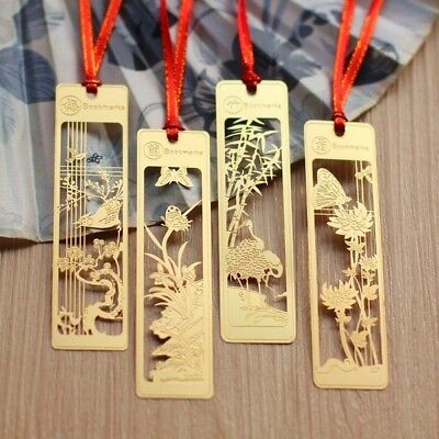 Chinese Style Plum Orchid Bamboo Chrysanthemum Exquisite Vintage Metal Bookmark