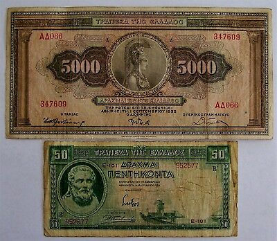 2 Greece banknotes-5000 (1932) and 50 (1939) Drachmai