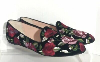 0955cafa90f9 Kate Spade Women s Black Swinton Velvet Floral Loafers Sz 9 Embroidered  Flats