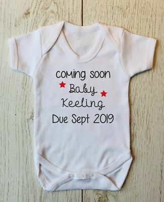 Coming Soon Personalised Baby Announcement Baby Shower Baby Body Baby Reveal