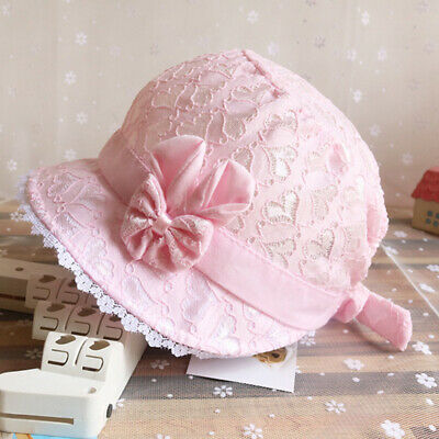 Baby Girls Princess Lace Sun Hats Kid Summer Cap With Flowers Bow Sun Hat N7