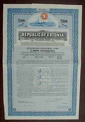 7% Republic of Estonia 100 £ Sterling Bond to Bearer 1927 uncancelled + coupons