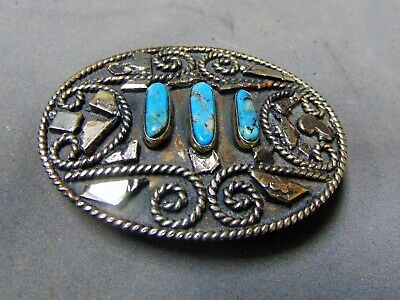 Vintage Aplaca Mexico Mexican Nickle, Silver And Turquoise Handmade Belt Buckle