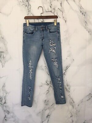 blank nyc Womens Jeans Size 29 Denim Distroyed Ripped All Over Skinny