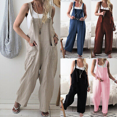 Women Dungarees Strap Overalls Pants Harem Trouser Baggy Casual Rompers Jumpsuit