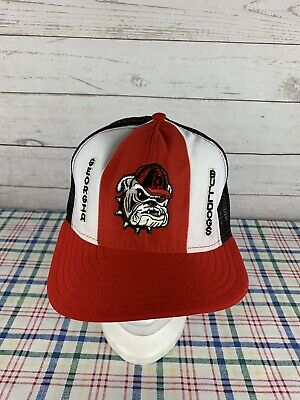 526fd5cd6bc Vintage UGA Georgia Bulldogs Mesh Snapback Trucker Hat Cap Lucky Stripes