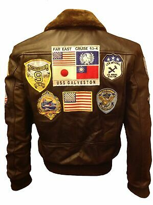Tom Cruise Top Gun A2 Jet Fighter Bomber Genuine Leather Jacket Real Fur Brown
