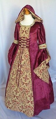 Girls Medieval Dress Renaissance Hooded Gown made to measure from age 7 to 8 yrs