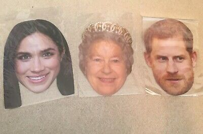 Bnwt New Royal Family Masks Queen Elizabeth Prince Harry Meghan Collector