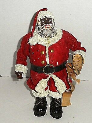 "Black Santa Vintage Paper Mache 10"" Christmas Decor"