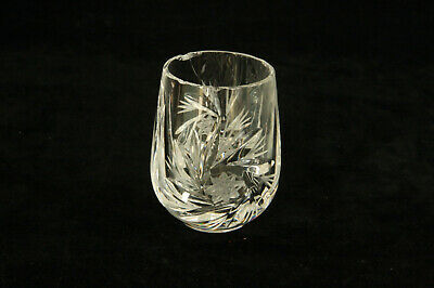 Vintage Blown Cut Glass Pinwheel & Stars Pattern Toothpick Holder Or Shot Glass