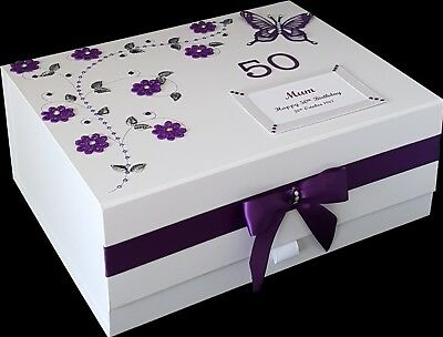 60th Birthday Gift Large PERSONALISED Keepsake Memory Box 90th 100th MOR COLOURS