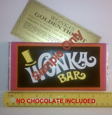 4.4 oz. sized Willy Wonka chocolate bar WRAPPER & GOLDEN TICKET (no chocolate)