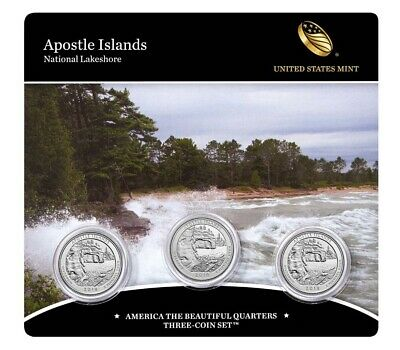 2018 PDS Apostle Islands-America the Beautiful Quarters-3 Coin Set-Mint Sealed