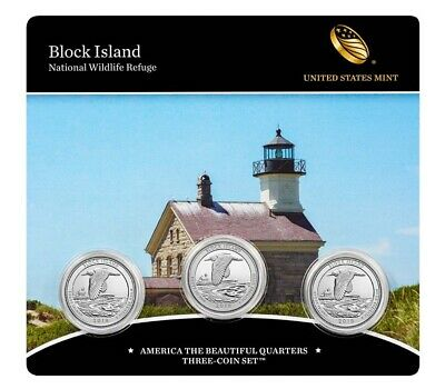 2018 PDS Block Island-America the Beautiful Quarters-3 Coin Set-Mint Sealed