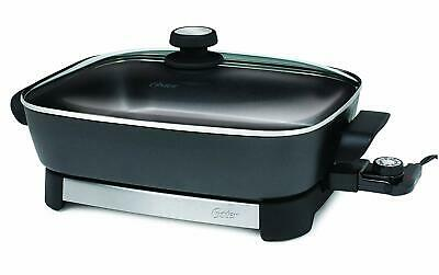 Electric Skillet Large Deluxe Nonstick Frying Fry Pan Glass Lid Buffet Cooking