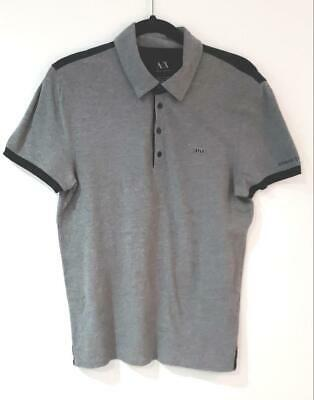 A/X Armani Exchange Mens Polo T Shirt Size L Black Gray Marled Short Sleeve Top
