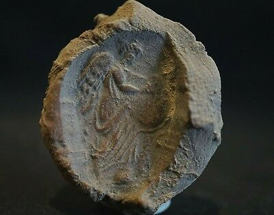 Ancient Roman Ceramic Seal Stamp. Winged Victoria playing Lyre, c 150-250 Ad.