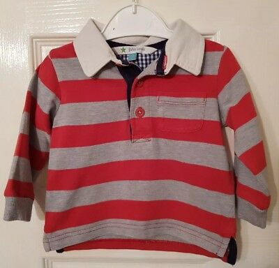 JOHN LEWIS Baby Boys 3-6 Months Long Sleeved Red Striped Top (A53)