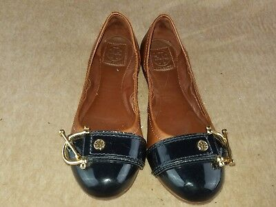 c4058e251 Tory Burch Women s Shoes Soft Leather Brown Slip On Ballet Buckle Flats  Size ...