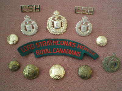 WW2 to 1950s Lord Strathcona's Horse Cap, Collar & Shoulder Badge Grouping (d)