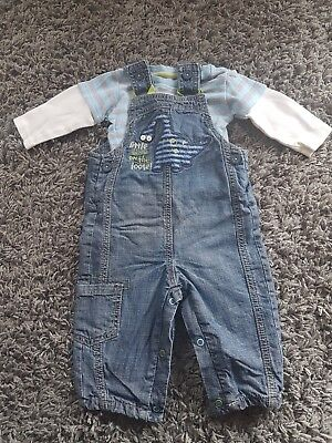 Marks and Spence Boys top and denim dungarees jeans 3-6 Months   Gb9