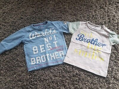 Next Boys best little brother tops tshirts x2 3-6 Months  Gb7