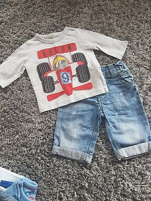 Next Boys racing car top and denim jeans 3-6 Months   Gb6