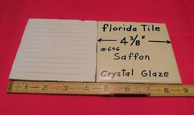 "1 pc.*Saffon-Pastle Yellow* 4-3/8"" Ceramic Crystal Glazed tiles by florida  NOS"