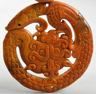 China Collectable Handwork Decor Old Jade Carve Around Dragon Exorcism Pendants