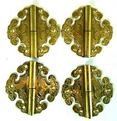 4 Solid Brass Cabinet Fitting Etched Pintle Hinges Draw Door Vintage Style