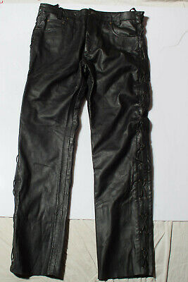 Men's Black Real Genuine Leather Motorcycle Biker Jeans style Trousers W38 L34