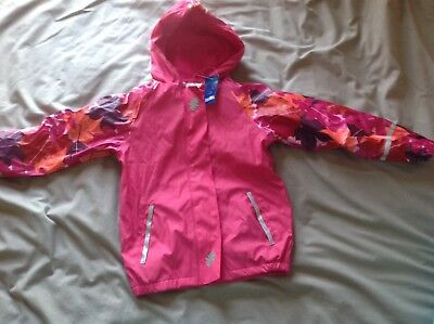 Lupilu Girls Brand New Pink Leafs Print Rain Coat Size 6-8yrs