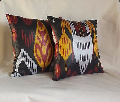 "2 Uzbek Silk Ikat Pillowcases 15"" Handmade"
