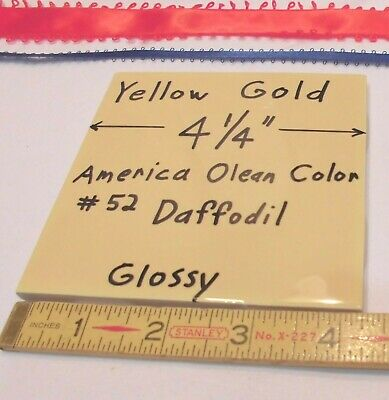 "1 pc. Glossy Ceramic Tile *Yellow Gold* 4-1/4"" New Old Stock,  Daffodil Color"