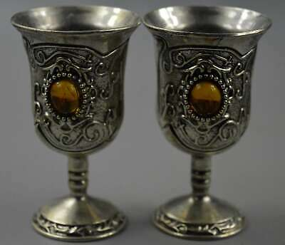 Collectable Handwork Decor Old Miao Silver Carve Totem Inlay Agate Wine Cups