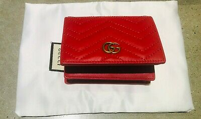 71a5703931447 Auth GUCCI Calfskin Matelasse GG Marmont Wallet Hibiscus Red w Dust Bag and  Box
